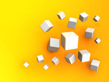 Cubes background. Abstract 3d illustration of cubes over orange background Royalty Free Stock Photo