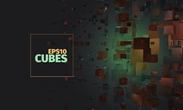 Cubes  background. Abstract explosion. Science banner. Cubes  background. Abstract explosion. Science web banner Royalty Free Stock Image