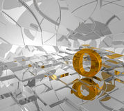 Cubes background and golden letter o Royalty Free Stock Photo