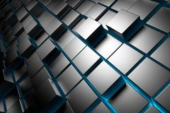 Cubes Background. Metallic cubes. Abstract background with blue light. 3d render Stock Photos