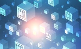 Cubes background and network interface. White cubes with icons over blue background and polygonal network structures interface. Concept of hi tech and art. 3d stock illustration