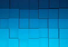 Cubes Background. Wall of Blue Cubes Background 3D Illustration Royalty Free Stock Photos