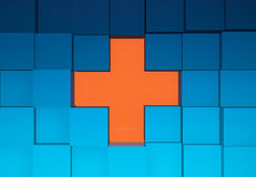 Cubes Background. Wall of Blue Cubes With Orange Cross Opening 3D Illustration Royalty Free Stock Photo