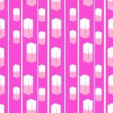 Cubes blancs en texture sans couture avec le fond rose Image stock