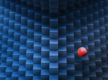 Cubes bleus abstraits et fond rouge de la boule 3d-generated Photos stock