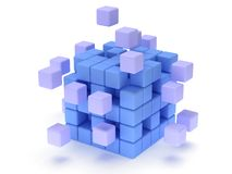Cubes block. Assembling concept. On white. Cubes block. Assembling concept. Teamwork. Business. On white background. 3D render icon Royalty Free Stock Photography