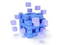 Cubes block. Assembling concept. On white. Stock Photo