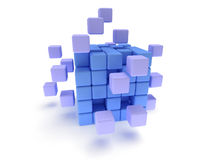 Cubes block. Assembling concept. On white. Stock Photography