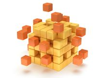 Cubes block. Assembling concept. On white. Royalty Free Stock Photos