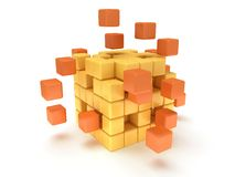 Cubes block. Assembling concept. On white. Cubes block. Assembling concept. Teamwork. Business. On white background. 3D render icon Stock Photo