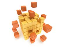 Cubes block. Assembling concept. On white. Cubes block. Assembling concept. Teamwork. Business. On white background. 3D render icon Royalty Free Stock Photos