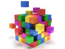 Cubes block. Assembling concept. On white. Cubes block. Assembling concept. Teamwork. Business. On white background. 3D render icon Stock Photography