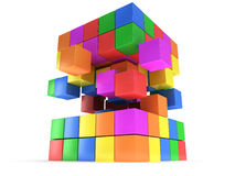 Cubes block. Assembling concept. On white. Cubes block. Assembling concept. Teamwork. Business. On white background. 3D render icon Stock Photos