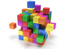 Cubes block. Assembling concept. On white. Cubes block. Assembling concept. Teamwork. Business. On white background. 3D render icon Royalty Free Stock Image