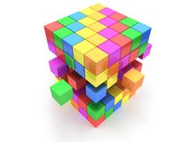 Cubes block. Assembling concept. On white. Royalty Free Stock Image