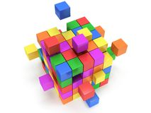 Cubes block. Assembling concept. On white. Cubes block. Assembling concept. Teamwork. Business. On white background. 3D render icon Royalty Free Stock Images