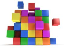 Cubes block. Assembling concept. On white. Stock Photos