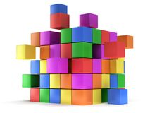 Cubes block. Assembling concept. On white. Cubes block. Assembling concept. Teamwork. Business. On white background. 3D render icon Stock Images
