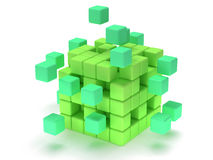 Cubes block. Assembling concept. On white. Cubes block. Assembling concept. Teamwork. Business. Last steps. On white background. 3D render icon stock illustration