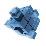 Cubes blue glass abstraction Stock Photos
