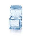 Cubes of blue ice. Isolated on a white background Stock Photography
