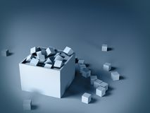 Cubes in a box. Gray cubes in a box on gray background Royalty Free Stock Image