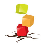 Cubes / boxes falling on the cracked ground. Illustration of three falling cubes touching the cracked ground Stock Image