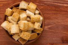 Cubes of bread croutons of white bread Royalty Free Stock Photography