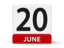 Cubes calendrier 20 juin illustration de vecteur