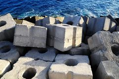 Cubes of Cement Breakwater Stock Image