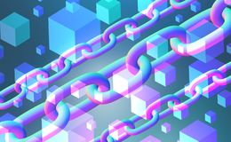 Cubes and chains abstract blue background. White cubes over blue background and three diagonal chains interface. Concept of hi tech and art. 3d rendering copy stock illustration