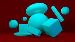 Cubes chaotiques bleus sur le fond rouge l'illustration 3d rendent Image stock