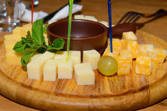 cubes of cheese of different varieties Stock Image