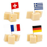 Cubes of cheeses with flags Royalty Free Stock Images