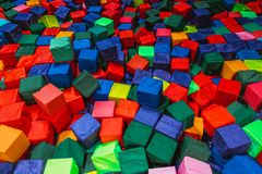 Cubes in the children`s center stock image