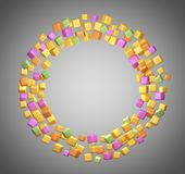 Cubes. Circle of colored cubes. 3D rendering Royalty Free Stock Image