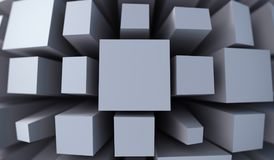 Cubes Closeup Background. 3D Rendering Of Abstract Cubes Closeup Background Stock Photos