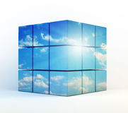 Cubes with a cloudy sky Stock Photography