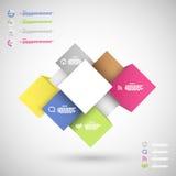 Cubes colorés en Infographic pour la présentation de données Photographie stock libre de droits