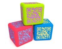 Cubes colorés 3 en QR Photo libre de droits