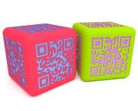 Cubes colorés 1 en QR Image libre de droits