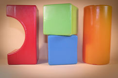Cubes in color. Colorful children's play blocks in random order stock photography