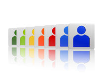 Cubes with colorful person signs Stock Photography