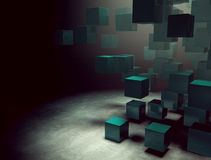 Cubes concept. 3d dark interior with cubes Royalty Free Stock Photography