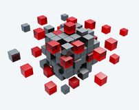 Cubes construction. Isolated 3d model Stock Photos