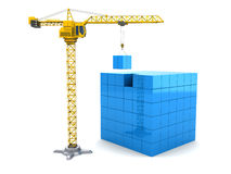 Cubes construction. Abstract 3d illustration of crane building blue cube Royalty Free Stock Photo