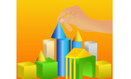 Cubes. Creation and development of vector graphics and illustrations Stock Photos