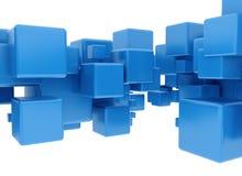 Cubes 3d bleus Photos stock