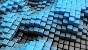 cubes 3D bleus déplaçant l'animation de fond banque de vidéos