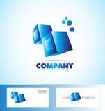 Cubes 3d blue logo icon Stock Photo